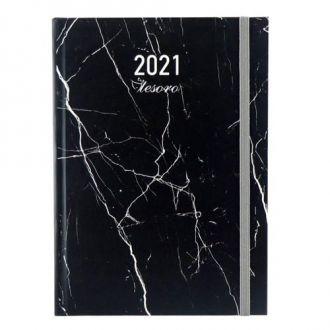 Tesoro ημερολόγιο ημερήσιο 14x20 2021 διάφορα σχέδια  με λάστιχο 000582236