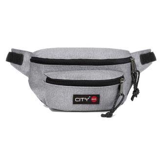 City τσαντάκι μέσης Melange Grey διπλό 96775