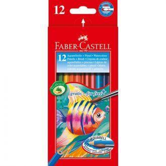 Faber Castell Ξυλομπογιές ακουαρέλας 12 χρώματα + πινέλο 114413