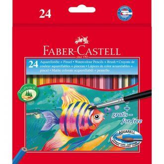 Faber Castell Ξυλομπογιές ακουαρέλας 24 χρώματα + πινέλο 114425