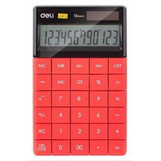 Deli Αριθμομηχανή 12 Ψηφίων Ηλίου/Μπαταρίας Κόκκινο 1589R