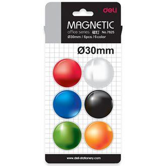 Deli μαγνήτες στρογγυλοί 6 τμχ. BBL 30mm διάφορα χρώματα