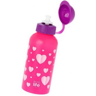 Ecolife μεταλλικό μπουκάλι παιδικό  500ml Hearts 33-BO-2011