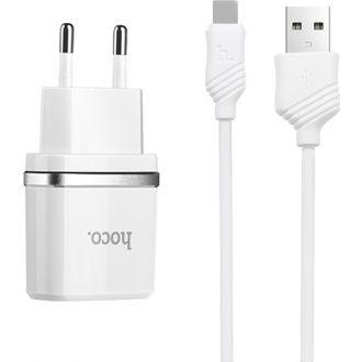 HOCO smart charger QC3.0 με καλώδιο type-C Λευκό (HC-C12QTWH)