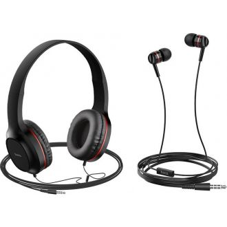 HOCO Σετ ακουστικά Stereo Hoco W24 Enlighten Κόκκινα με Μικρόφωνο και επιπλέον ακουστικά 3.5mm