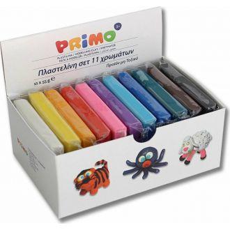 Primo πλαστελίνη 55gr x 11 χρώματα 2661