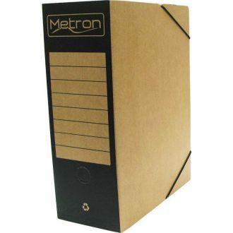 Metron Κουτί αρχείου με λάστιχο οικολογικό ράχη 12cm Μαύρο