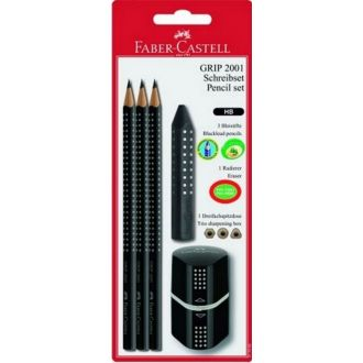 Faber Castell blister 3 μολύβια Grip 2001 + γόμα Grip + ξύστρα Grip μαύρη 217093