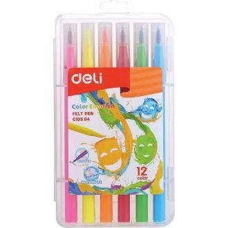 Deli μαρκαδόροι πινέλο set 12χρώματα (EC10304)