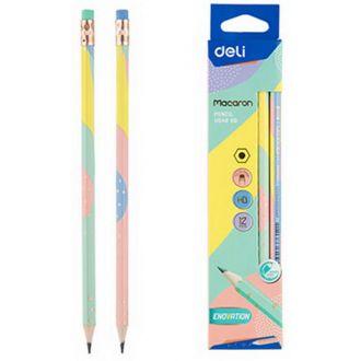 Deli μολύβι με γόμα ΗΒ macaron wood-free EU54800