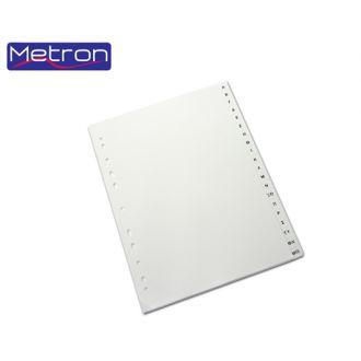 Metron Διαχωριστικά A4 Α-Ω 20 φύλλων πλαστικά Γκρί