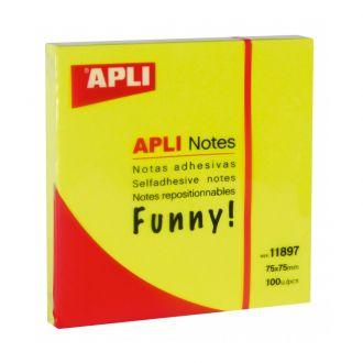 Apli Αυτοκόλλητα χαρτάκια 75mm x 75mm 100 Φύλλων Κίτρινο