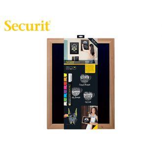 Securit Επιτοίχιος πίνακας υγρής κιμωλίας 40x30 ξύλινο πλαίσιο καφέ + μαρκαδόρος