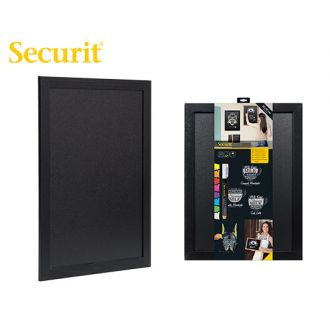 Securit Επιτοίχιος πίνακας υγρής κιμωλίας 40x30 ξύλινο πλαίσιο μαύρο + μαρκαδόρος