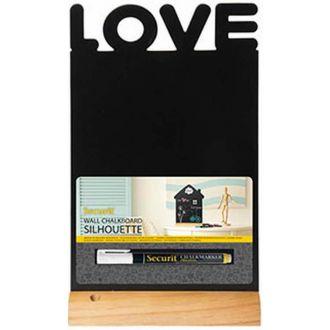 "Securit επιτραπέζιος πίνακας υγρής κιμωλίας 34.5x21 με ξύλινη βάση ""Love""  + μαρκαδόρος"