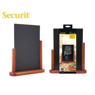 Securit επιτραπέζιος πίνακας υγρής κιμωλίας 32.3x27 με ξύλινη βάση μαόνι