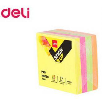 Deli κύβος αυτοκόλλητος Neon 76x76mm 4 χρώματα mix (ΕΑ03003)