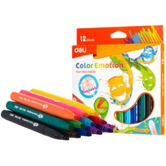 Deli μαρκαδόροι Washable Color Emotion 12 χρώματα EC10800