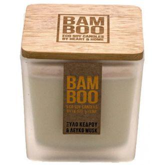 HeartAndHome Κερί bamboo 90γρ Ξύλο κέδρου & λευκό musk