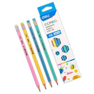 Deli μολύβι ριγέ με γόμα Comiko HB EC011 (231.005830)