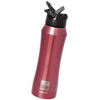Ecolife μεταλλικός θερμός με καλαμάκι 550ml Μπορντώ 33-BO-3021