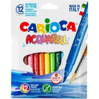 Carioca acquarell μαρκαδόροι πινέλο 12χρώματα 42747