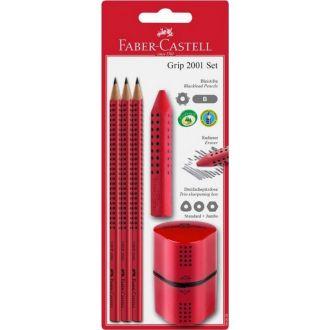 Faber Castell blister 3 μολύβια Grip 2001 + γόμα Grip + ξύστρα Grip κόκκινη 580022