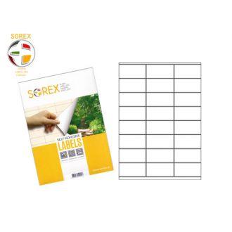Sorex Αυτοκόλλητες ετικέτες εκτύπωσης A4 70x35 (3x8) 100 Φύλλων