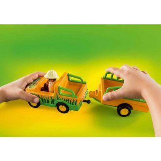 Playmobil 70182 123 Όχημα ζωολογικού κήπου με ρινόκερο