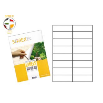 Sorex Αυτοκόλλητες ετικέτες εκτύπωσης A4 105x37 (2x8) 100 Φύλλων