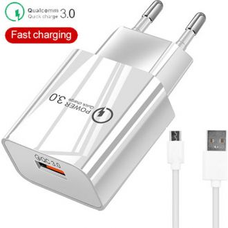 Lamtech quick charger usb 3.0 18W with type-C cable 1m White