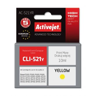 ActiveJet Μελάνι Canon CLI-521Y 10ml Yellow (AC-521YR)