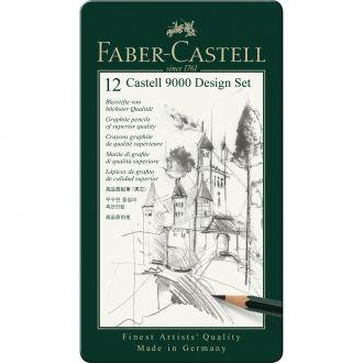 Faber Castell Μεταλλική κασετίναμε μολύβια σχεδίασης design 12 τεμάχια (119064)