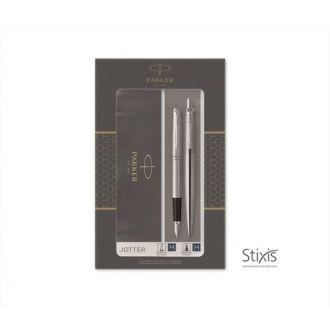Parker Set Στυλό & Μολύβι Jotter CR Duo Stainless Steel CT Ballpen & Mech. Pencil (1171.9026.08)
