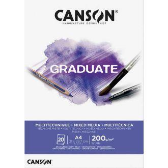 Graduate μπλοκ Canson mixed media A4 200gr 20Φύλλων