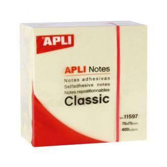 Apli Κύβος αυτοκόλλητα χαρτάκια Classic 75mm x 75mm 400 Φύλλων Κίτρινο