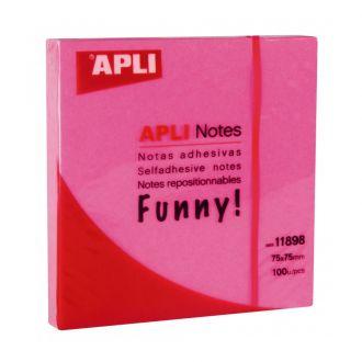 Apli Αυτοκόλλητα χαρτάκια 75mm x 75mm 100 Φύλλων Ροζ