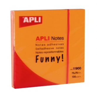 Apli Αυτοκόλλητα χαρτάκια 75mm x 75mm 100 Φύλλων Πορτοκαλί