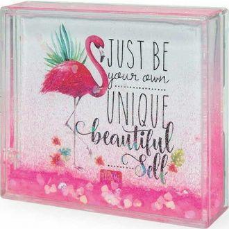 LEGAMI glitter photo frame small - flamingo