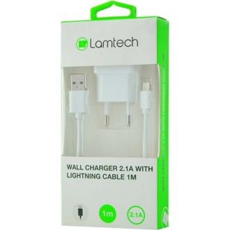 Lamtech charger 2.1A with lighting cable 1m White