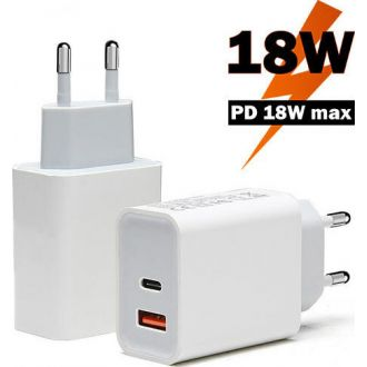 Lamtech quick charger 18W QC3.0  and type-C output White