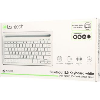 Lamtech bluetooth 5.0 keyboard with Tablet, iPad, Mobile stand  White  (LAM022117)