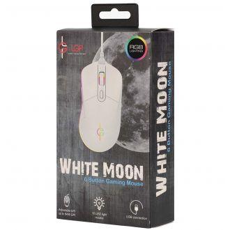 LGP RGB gaming mouse 6400DPI white - White moon