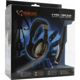 Sbox stereo headset with mic Grey Black (HS-302)